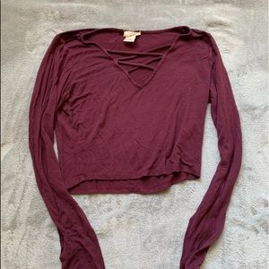 Maroon long sleeve shirt